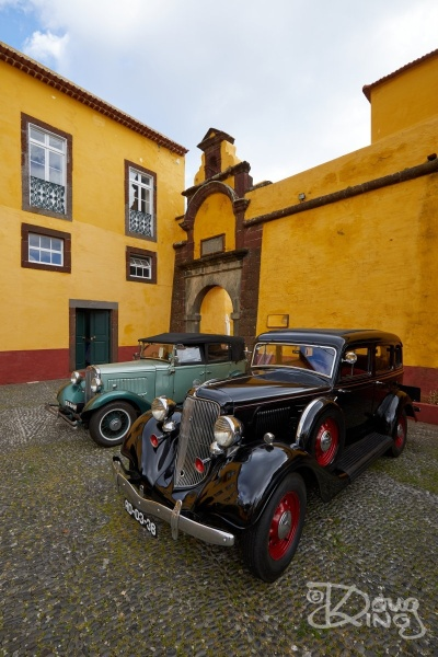 Cars in courtyard of Sao Tiago Fort, Funchal, Madeira.    Size: 4480 x 6720, 27MB