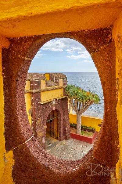 View through defences at Sao Tiago Fort, Funchal, Madeira.     Size: 4258 x 6386, 28MB